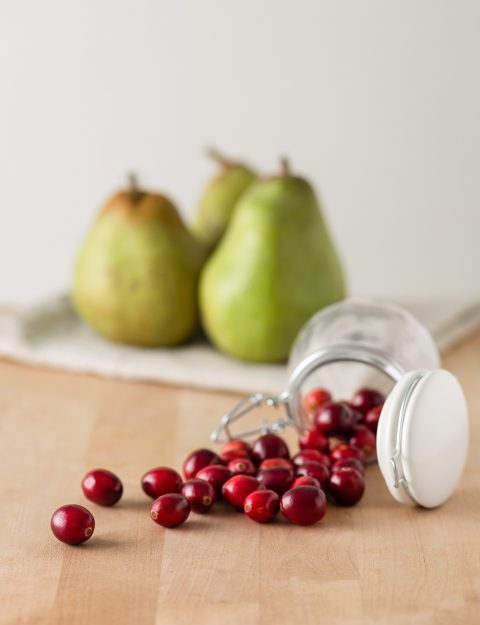 Food Photography cranberries and pears.